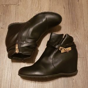 Black with Gold Buckles Wedge Bootie